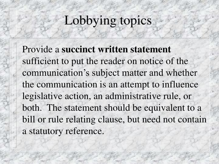 Lobbying topics