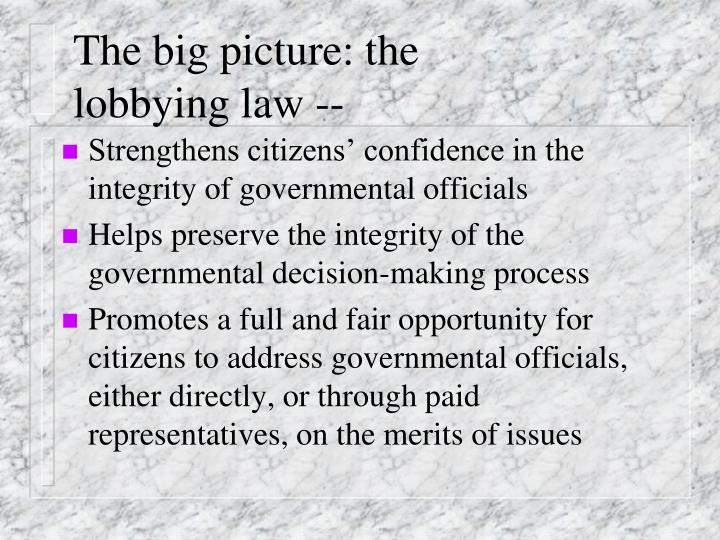 The big picture: the lobbying law --
