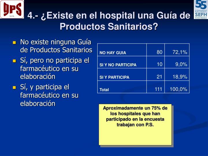 4.- ¿Existe en el hospital una Guía de Productos Sanitarios?