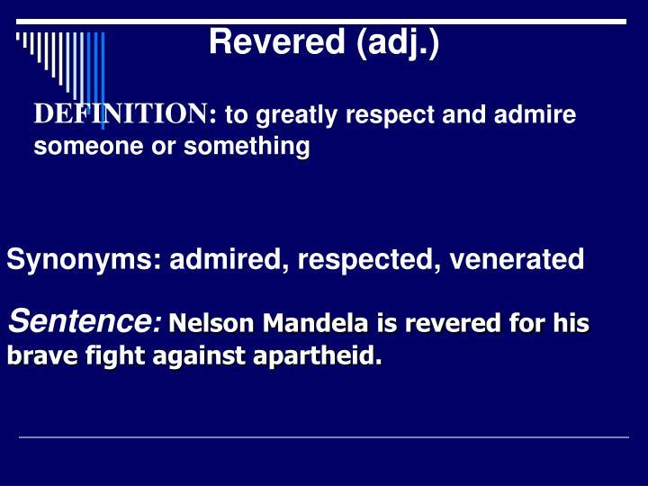 Revered (adj.)