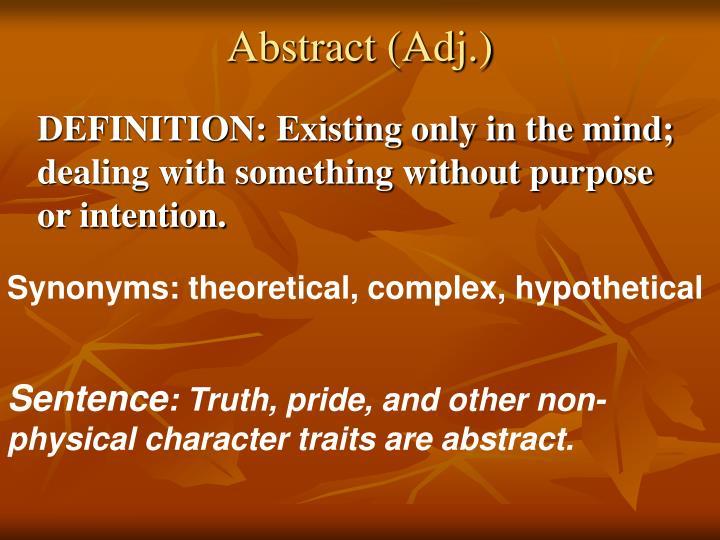 Abstract (Adj.)