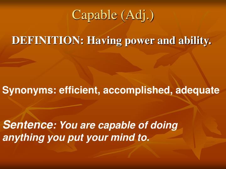 Capable (Adj.)