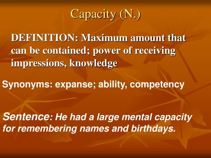 Capacity (N.)