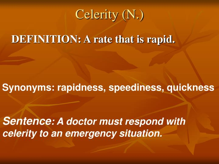 Celerity (N.)