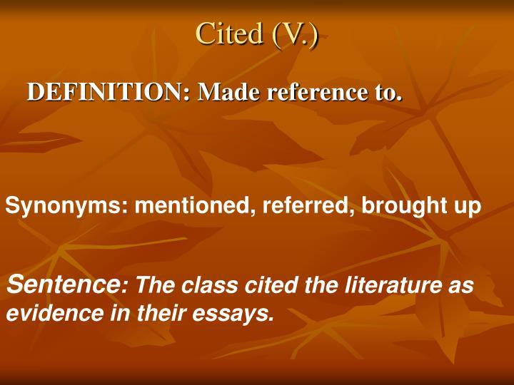 Cited (V.)