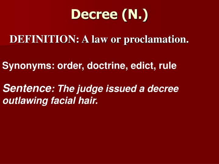Decree (N.)