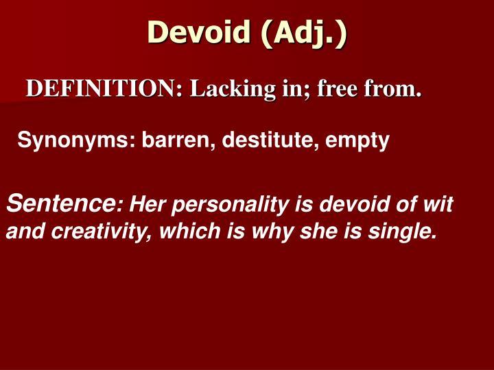 Devoid (Adj.)