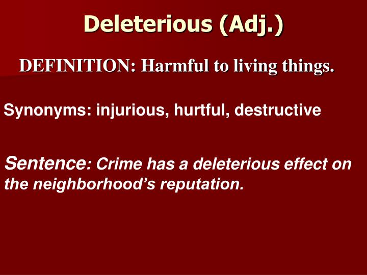 Deleterious (Adj.)