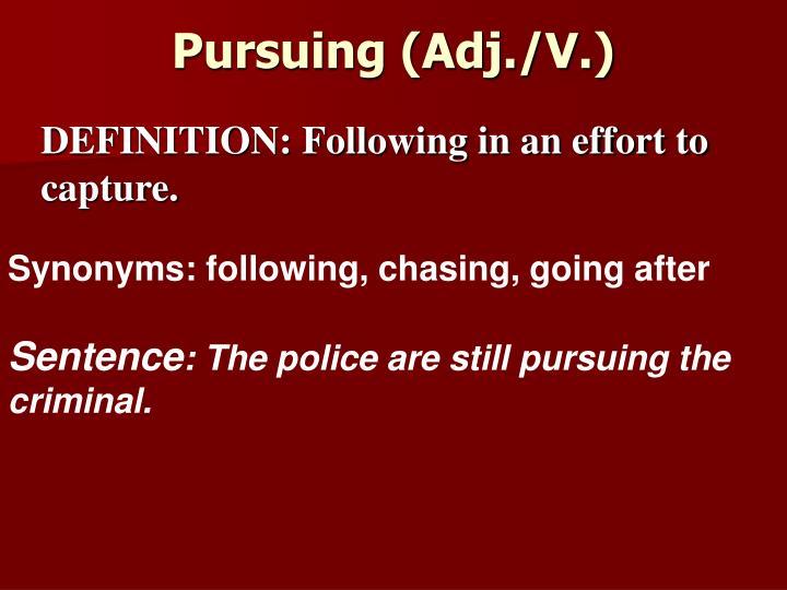 Pursuing (Adj./V.)