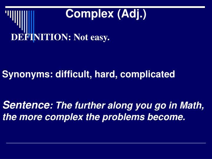 Complex (Adj.)