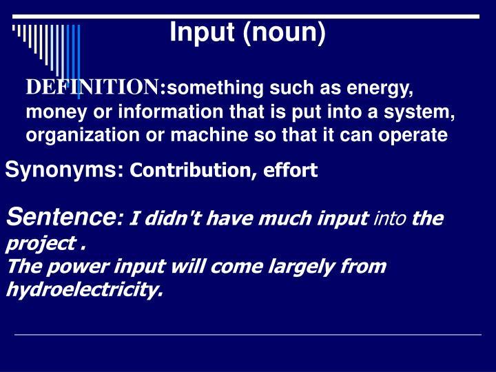Input (noun)
