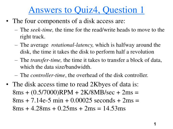 Answers to quiz4 question 1