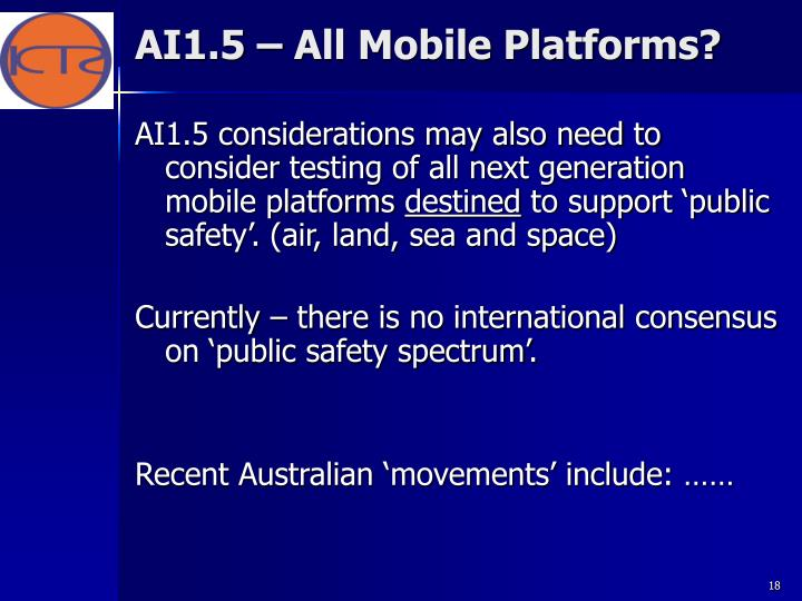 AI1.5 – All Mobile Platforms?