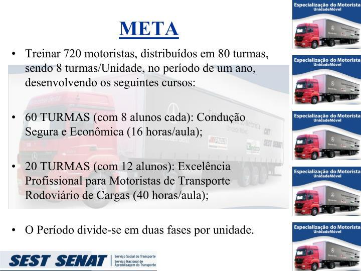 Treinar 720 motoristas, distribuídos em 80 turmas, sendo 8 turmas/Unidade, no período de um ano, desenvolvendo os seguintes cursos: