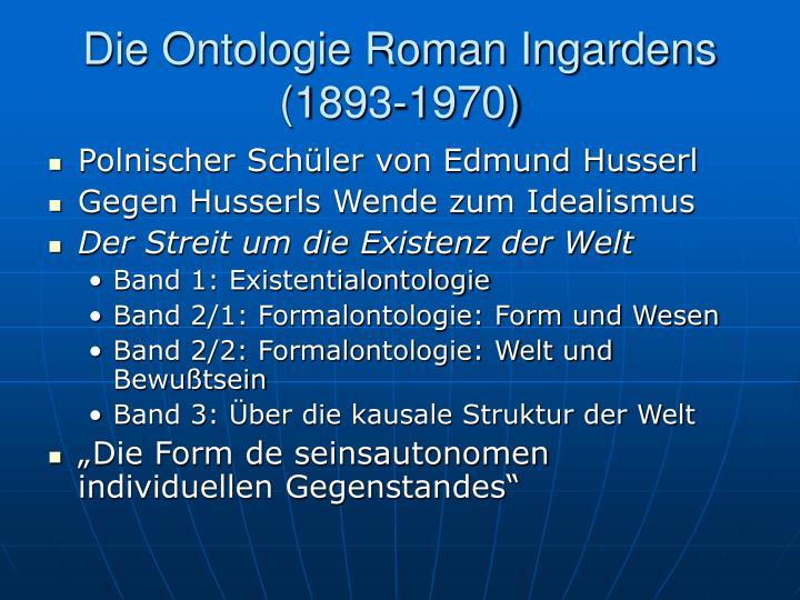 Die Ontologie Roman Ingardens (1893-1970)