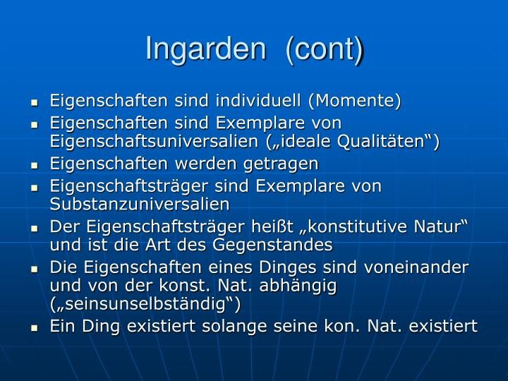 Ingarden  (cont)