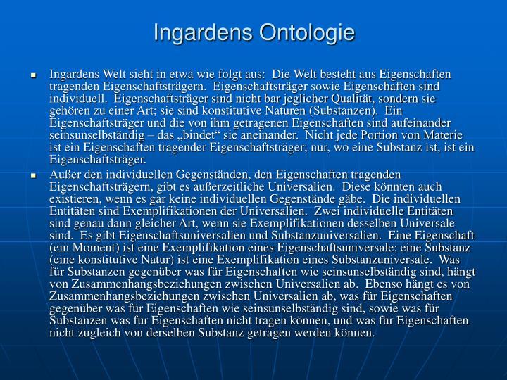 Ingardens Ontologie