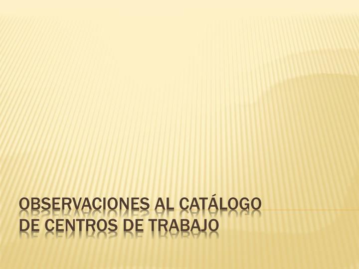 OBSERVACIONES AL CATÁLOGO