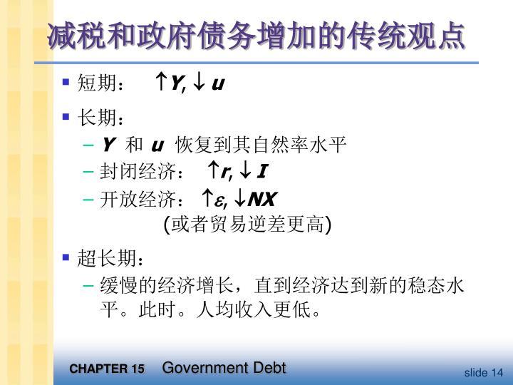 减税和政府债务增加的传统观点