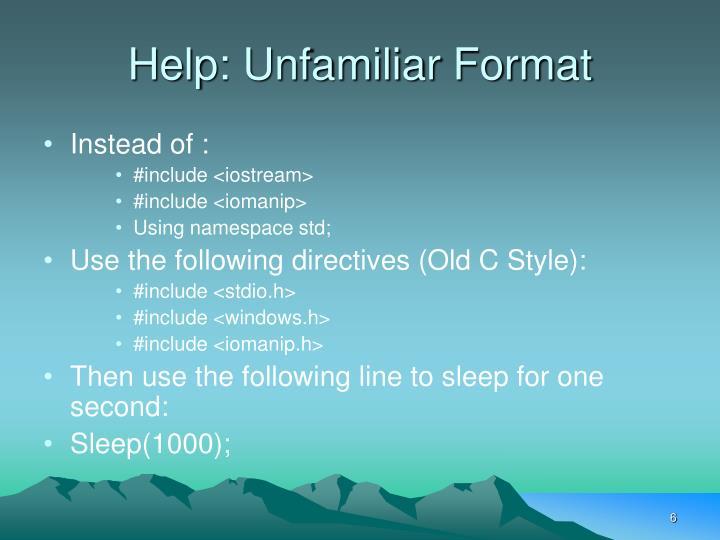 Help: Unfamiliar Format