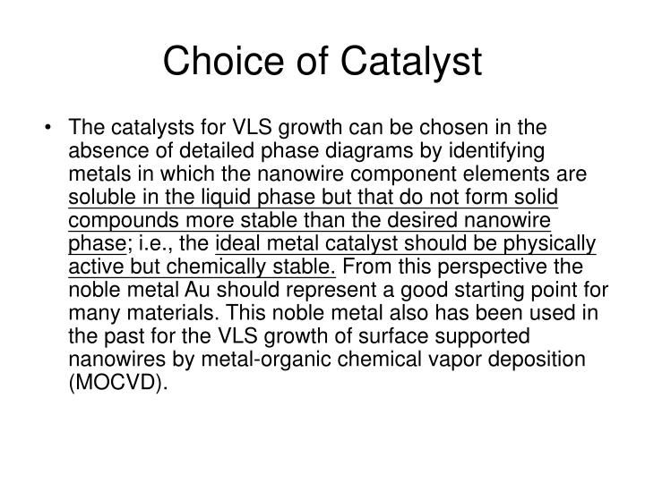The catalysts for VLS growth can be chosen in the absence of detailed phase diagrams by identifying metals in which the nanowire component elements are