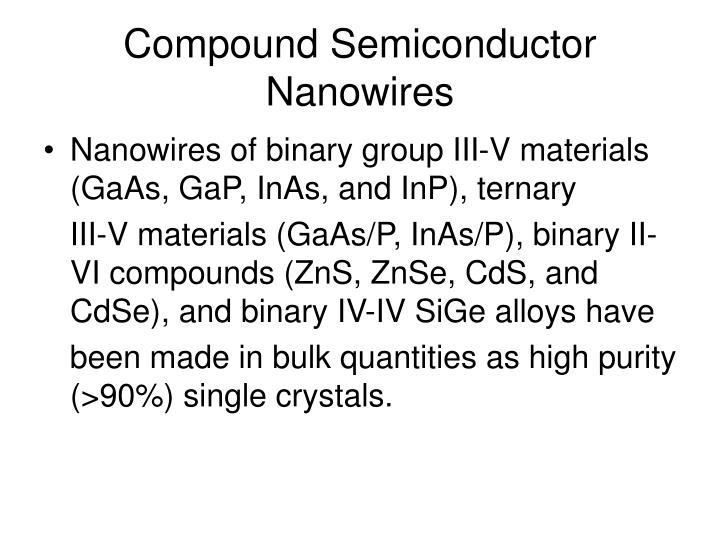Nanowires of binary group III-V materials (GaAs, GaP, InAs, and InP), ternary