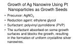 growth of ag nanowire using pt nanoparticles as growth seeds
