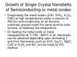 growth of single crystal nanobelts of semiconducting or metal oxides