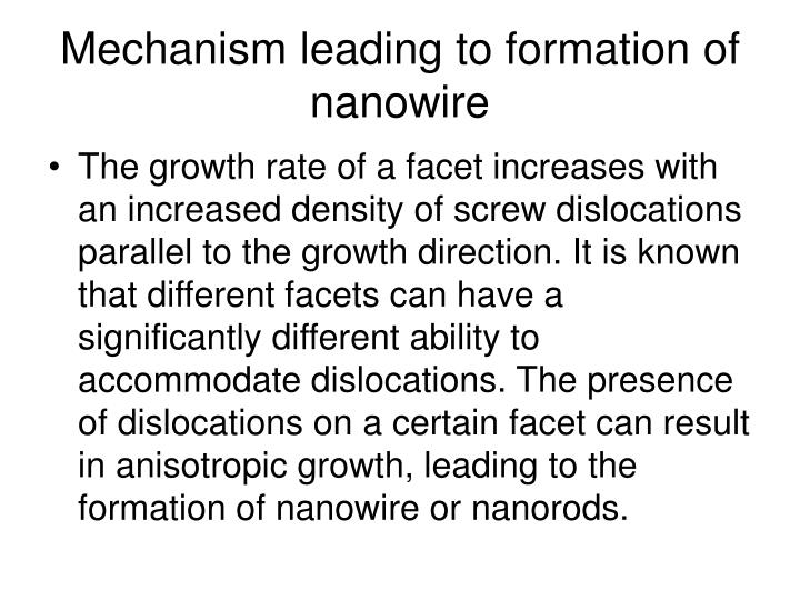 Mechanism leading to formation of nanowire