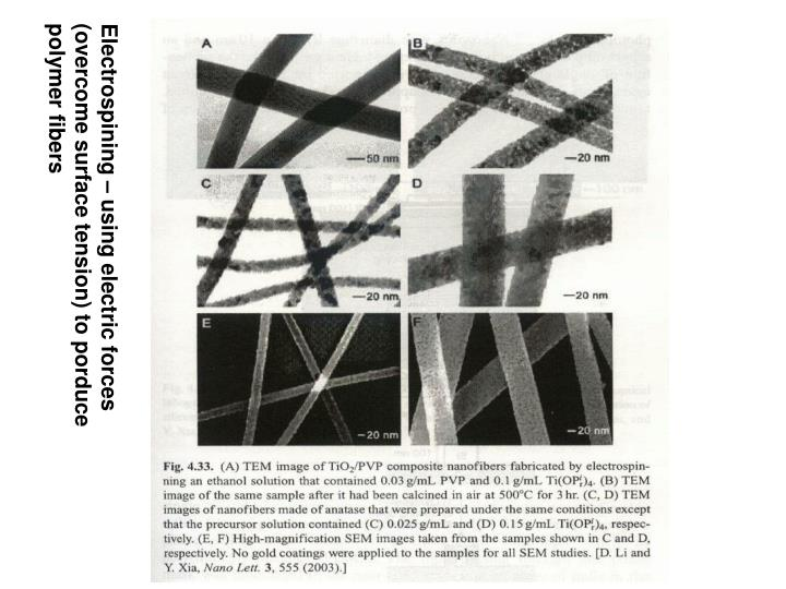 Electrospining – using electric forces (overcome surface tension) to porduce polymer fibers