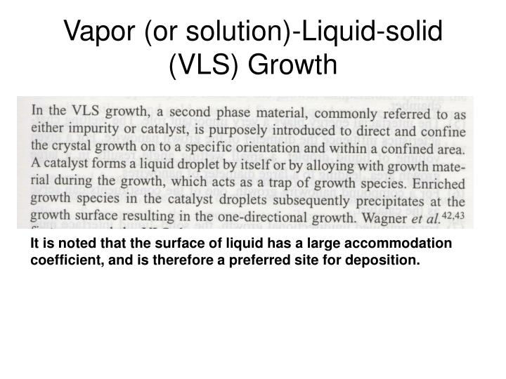 Vapor (or solution)-Liquid-solid (VLS) Growth