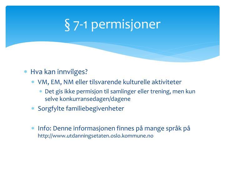 § 7-1 permisjoner