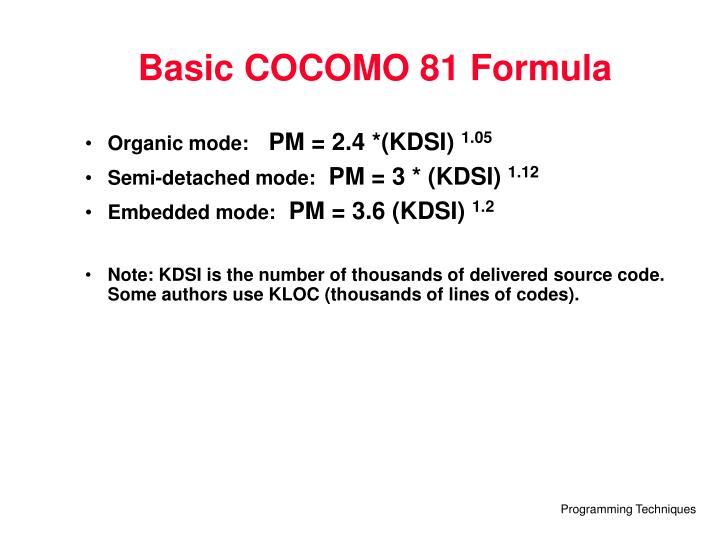 Basic COCOMO 81 Formula