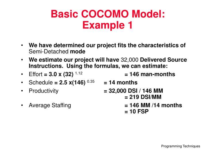 Basic COCOMO Model: