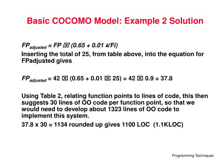 Basic COCOMO Model: Example 2 Solution