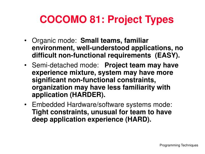 COCOMO 81: Project Types