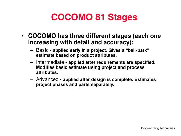 COCOMO 81 Stages