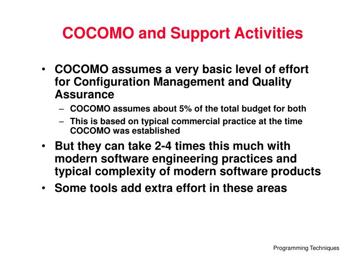 COCOMO and Support Activities