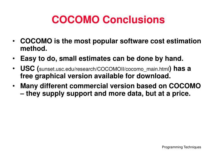 COCOMO Conclusions