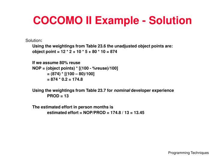 COCOMO II Example - Solution