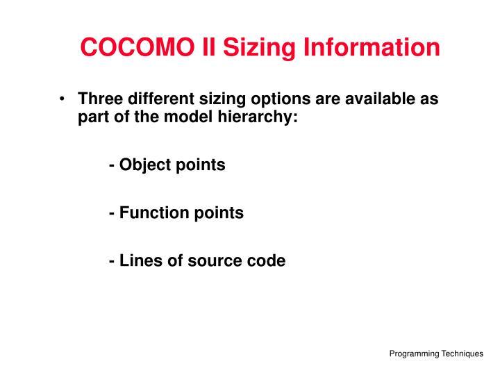 COCOMO II Sizing Information