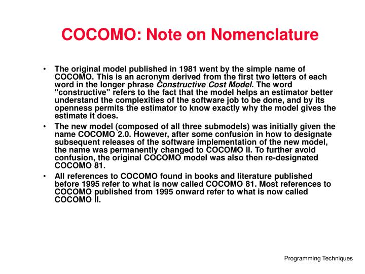 COCOMO: Note on Nomenclature