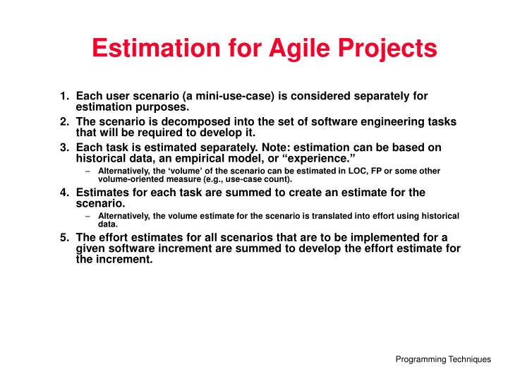 Estimation for Agile Projects