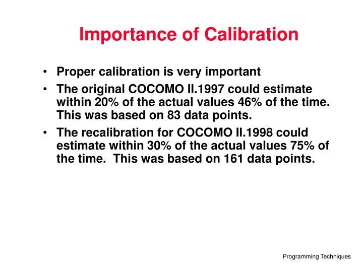 Importance of Calibration