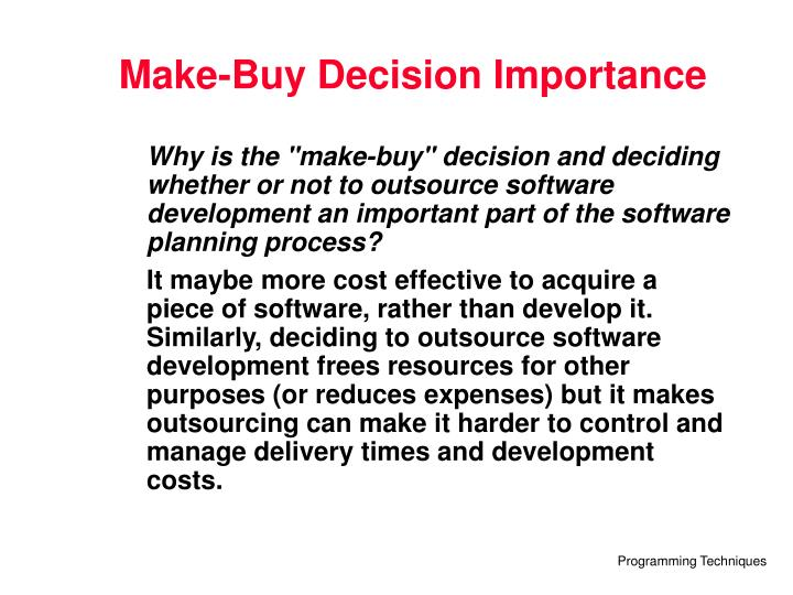 Make-Buy Decision Importance
