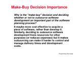 make buy decision importance