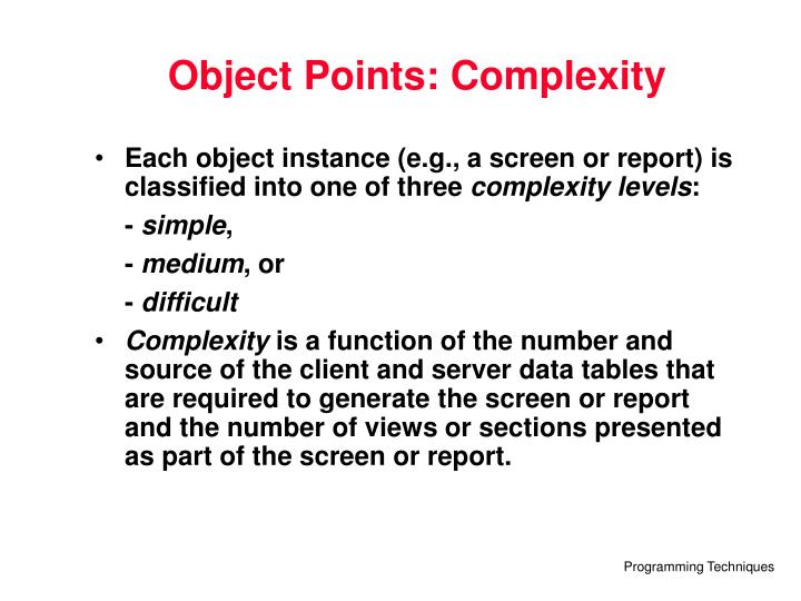 Object Points: Complexity