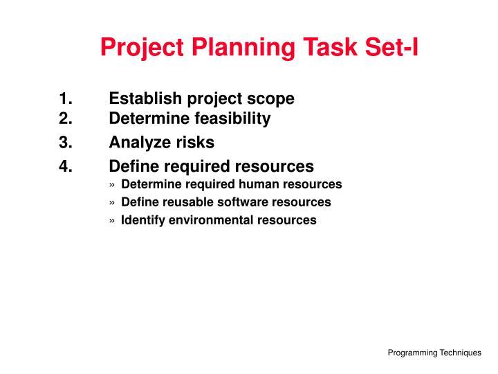 Project Planning Task Set-I