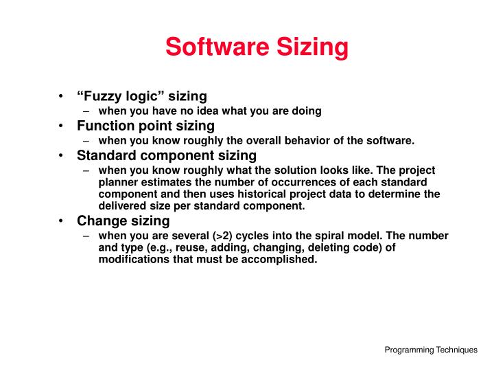 Software Sizing