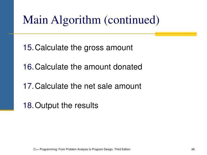 Main Algorithm (continued)